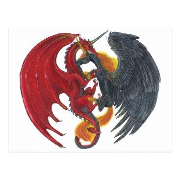 Halloween Themed Black Fire Unicorn and Red Dragon Postcard
