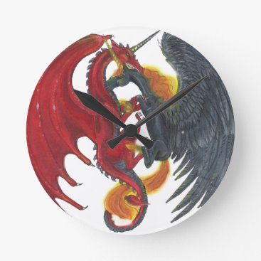 Halloween Themed Black Fire Unicorn and Red Dragon Round Clock