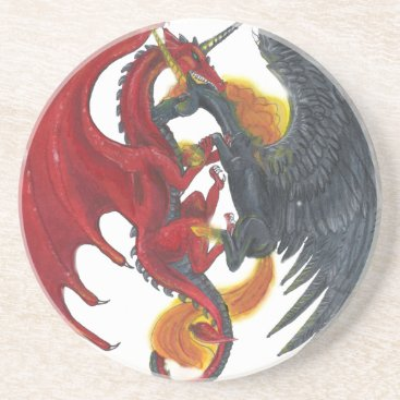 Halloween Themed Black Fire Unicorn and Red Dragon Sandstone Coaster