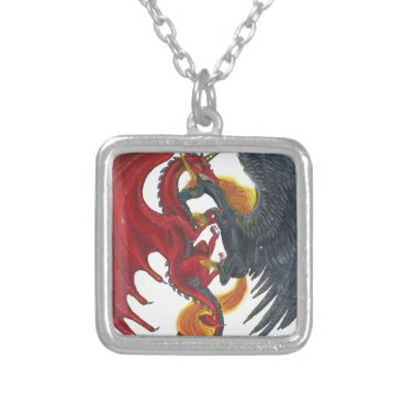Halloween Themed Black Fire Unicorn and Red Dragon Silver Plated Necklace