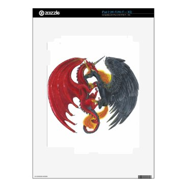 Halloween Themed Black Fire Unicorn and Red Dragon Skin For iPad 2