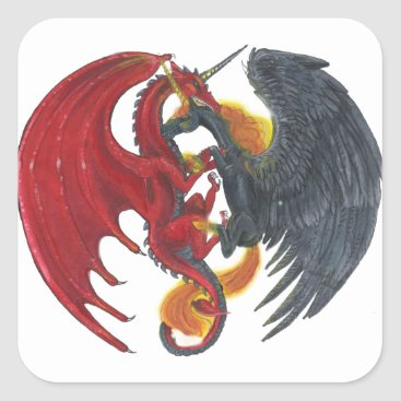 Halloween Themed Black Fire Unicorn and Red Dragon Square Sticker
