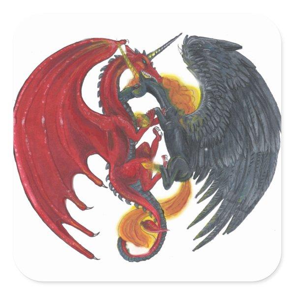 Black Fire Unicorn and Red Dragon Square Sticker