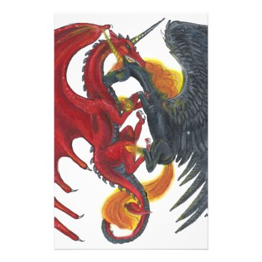 Halloween Themed Black Fire Unicorn and Red Dragon Stationery