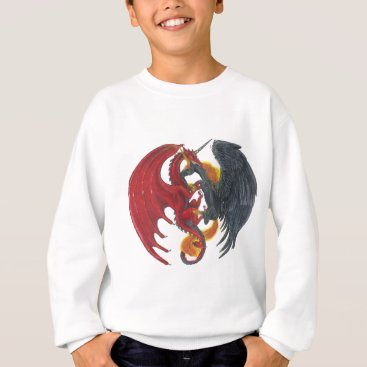 Halloween Themed Black Fire Unicorn and Red Dragon Sweatshirt