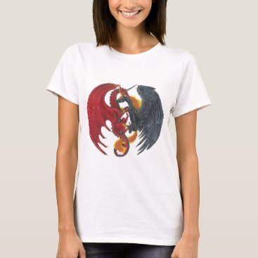 Halloween Themed Black Fire Unicorn and Red Dragon T-Shirt