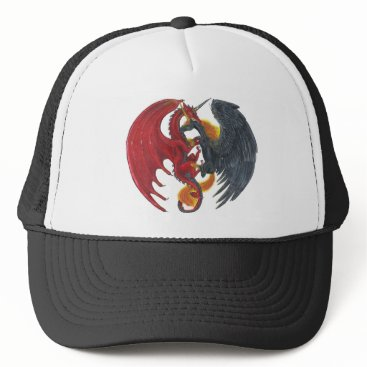 Halloween Themed Black Fire Unicorn and Red Dragon Trucker Hat