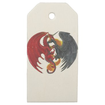 Halloween Themed Black Fire Unicorn and Red Dragon Wooden Gift Tags