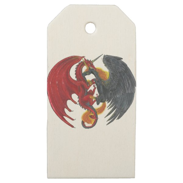 Black Fire Unicorn and Red Dragon Wooden Gift Tags