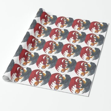 Halloween Themed Black Fire Unicorn and Red Dragon Wrapping Paper