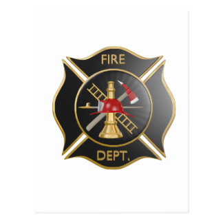 Black firefighters maltese cross symbol postcard