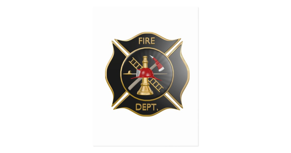 Black Firefighters Maltese Cross Symbol Postcard Zazzle Com