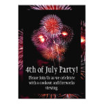 Black Fireworks 4th of July Party Invitation