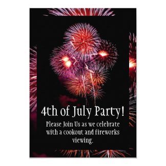 "Black Fireworks 4th of July Party Invitation 5"" X 7"" Invitation Card"