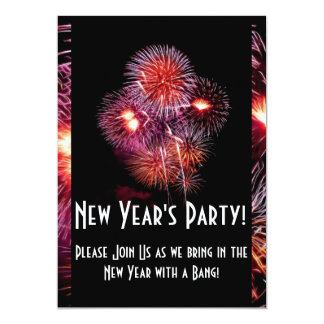 Black Fireworks New Years Party Invitation