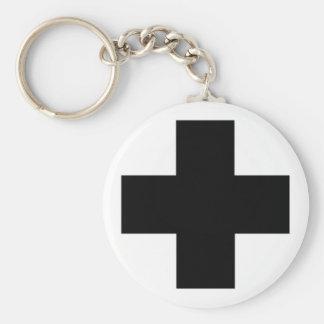Black First aid cross Basic Round Button Keychain
