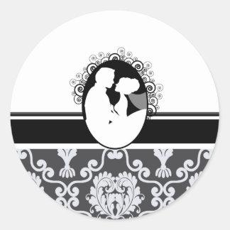 Black First Kiss Wedding Seal Classic Round Sticker