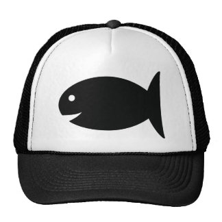 black fish icon mesh hat
