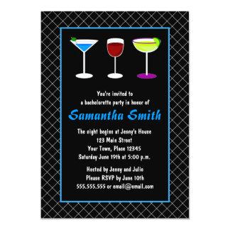 "Black Fishnet Blue Martini Bachelorette Party 5"" X 7"" Invitation Card"