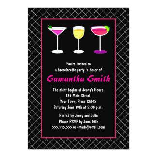 "Black Fishnet Hot Pink Martini Bachelorette Party 5"" X 7"" Invitation Card"