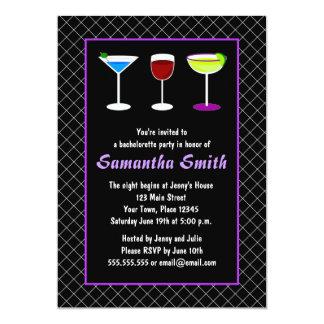 """Black Fishnet & Purple Bachelorette Party Invite 5"""" X 7"""" Invitation Card"""