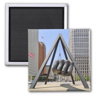 Black Fist Detroit 2 Inch Square Magnet