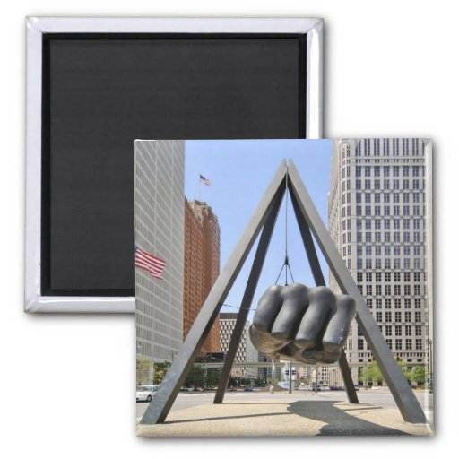 Black Fist Detroit Fridge Magnets