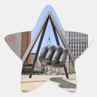 Black Fist Detroit Star Sticker