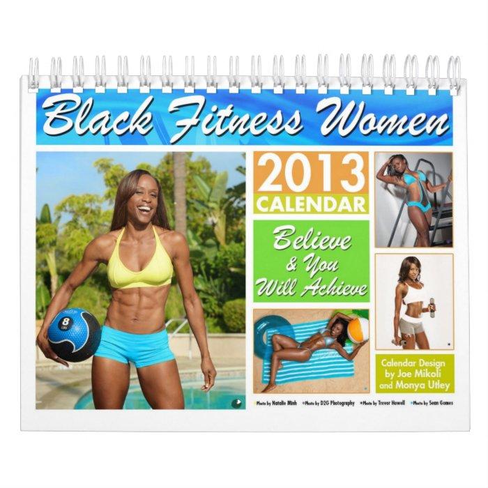 Black Fitness Women Calendar