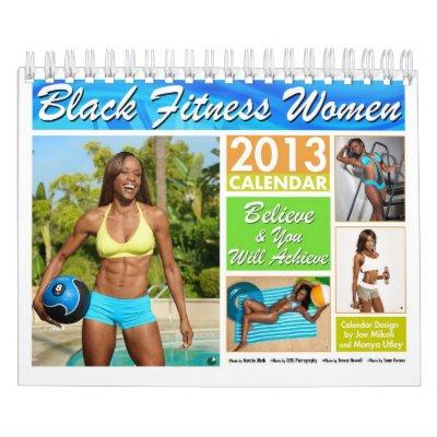 Black Fitness Women Wall Calendar