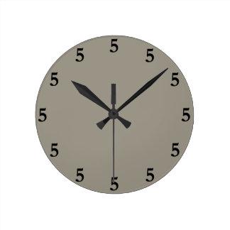 Black Five o'Clock Somewhere, Aluminum Silver Gray Round Clock