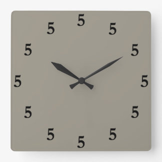 Black Five o'Clock Somewhere, Aluminum Silver Gray Square Wall Clock