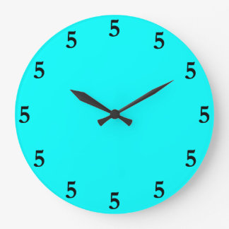 Black Five o'Clock Somewhere on Aqua Blue Large Clock