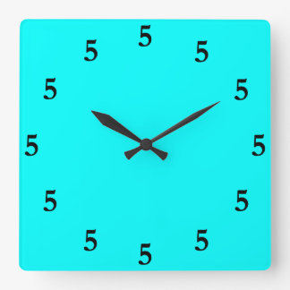 Black Five o'Clock Somewhere on Aqua Blue Square Wall Clock