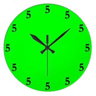 Black Five o'Clock Somewhere on Lime Green Large Clock