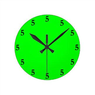 Black Five o'Clock Somewhere on Lime Green Round Clock
