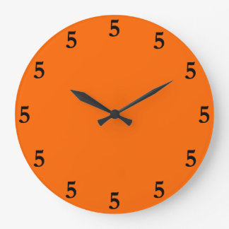 Black Five o'Clock Somewhere on Orange Large Clock