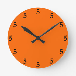 Black Five o'Clock Somewhere on Orange Round Clock