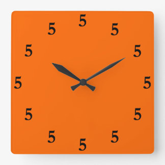 Black Five o'Clock Somewhere on Orange Square Wall Clock