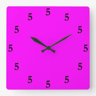Black Five o'Clock Somewhere on Pink Square Wall Clock