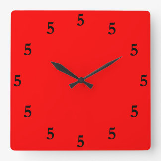 Black Five o'Clock Somewhere on Red Square Wall Clock