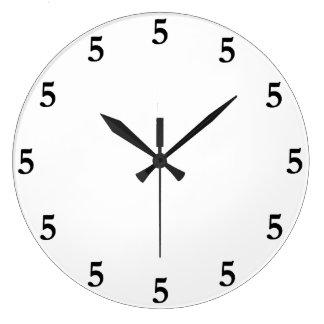 Black Five o'Clock Somewhere on White Large Clock