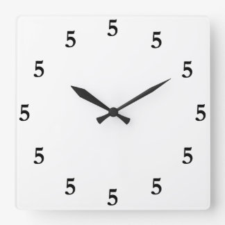 Black Five o'Clock Somewhere on White Square Wall Clock