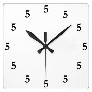Black Five o'Clock Somewhere on White Square Wall Clock