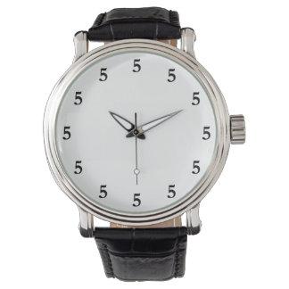 Black Five o'Clock Somewhere on White Watch