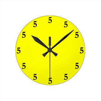 Black Five o'Clock Somewhere on Yellow Round Clock