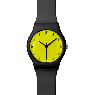 Black Five o'Clock Somewhere on Yellow Watch