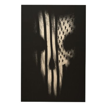 USA Themed Black Flag Wood Wall Art