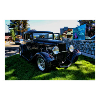 Black Flamed Coupe on color Poster