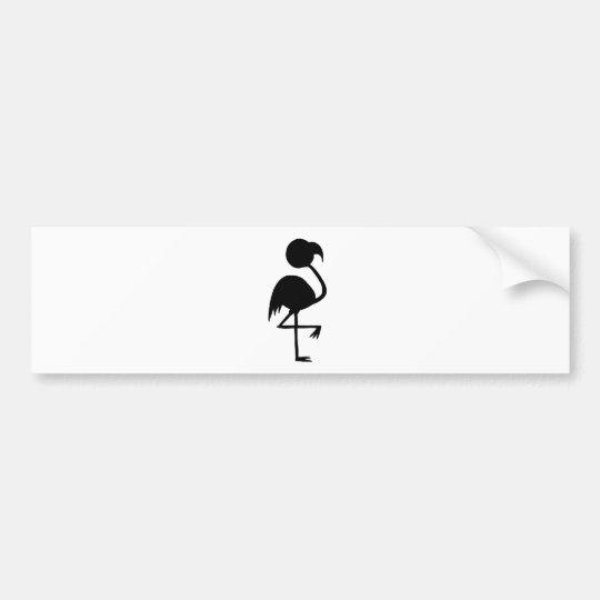 Black Flamingo Silhouette Whimsical Bird Cool Fun Bumper Sticker